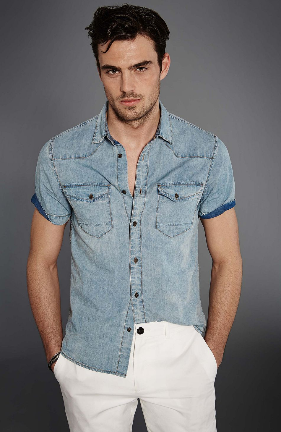 50cd3afb3aa Short Sleeve Denim Shirt - Novelty - Denim - Mens - Armani Exchange ...