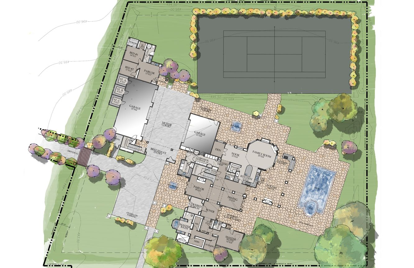 Taylor Lane a 6800 sqft English Country Home design by Murray – Mission Santa Barbara Floor Plan