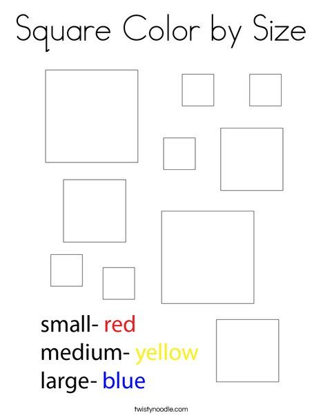 Square Color by Size Coloring Page - Twisty Noodle ...