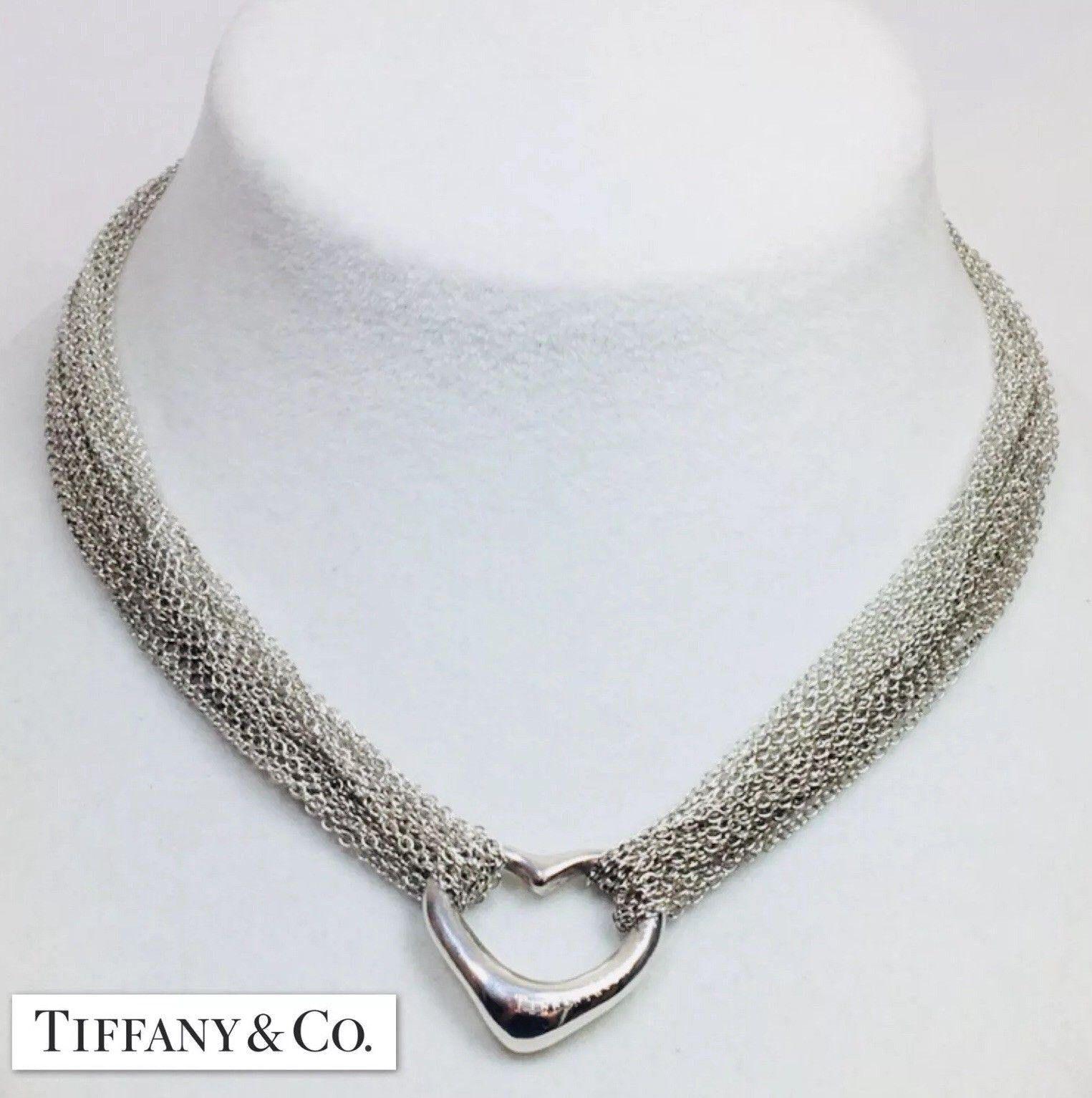 51ccb6bef43 Magnificent Tiffany   Co. Elsa Peretti Sterling Silver Multi Strand Heart