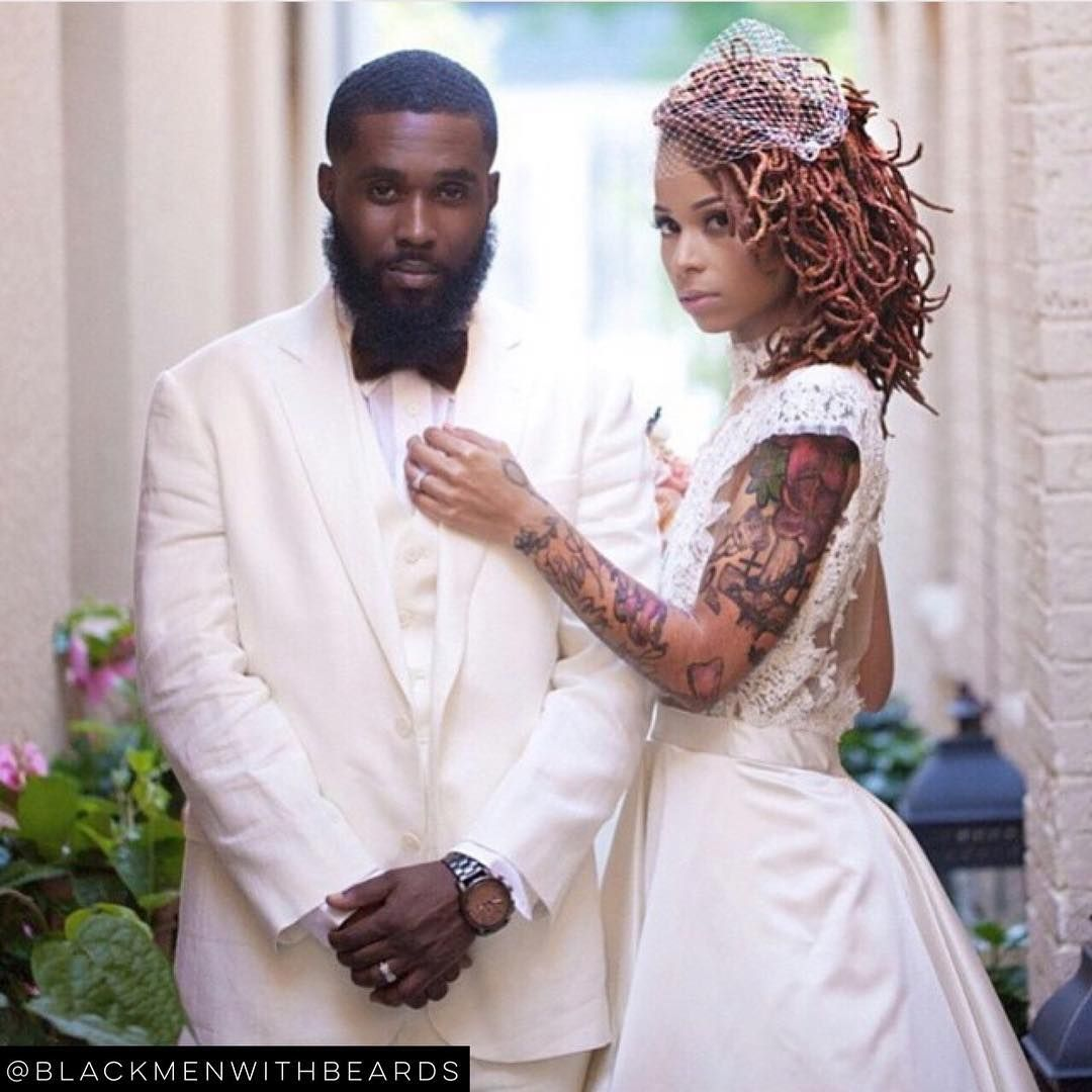 """""""LOVE THIS! @eclectic_vibez and her king! Email us your photos at blackmenwithbeards@yahoo.com to be considered for a feature!  #blackmenwithbeards…"""""""