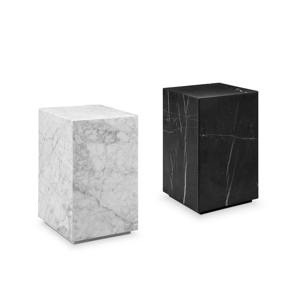 Nero Marquina Black Marble Pedestal Side Table Square in