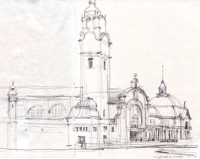 CATALINA: Wiesbaden Hauptbahnhof Line drawing, ball pen urban sketch.