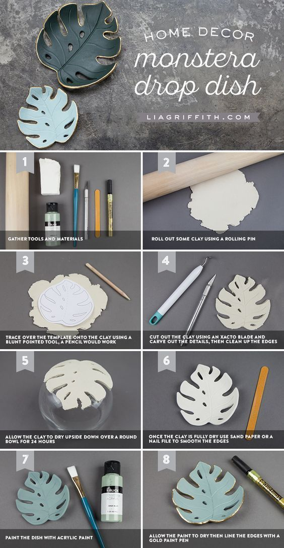 Make a simple DIY monstera drop dish for your home Make a simple DIY monstera drop dish for your home