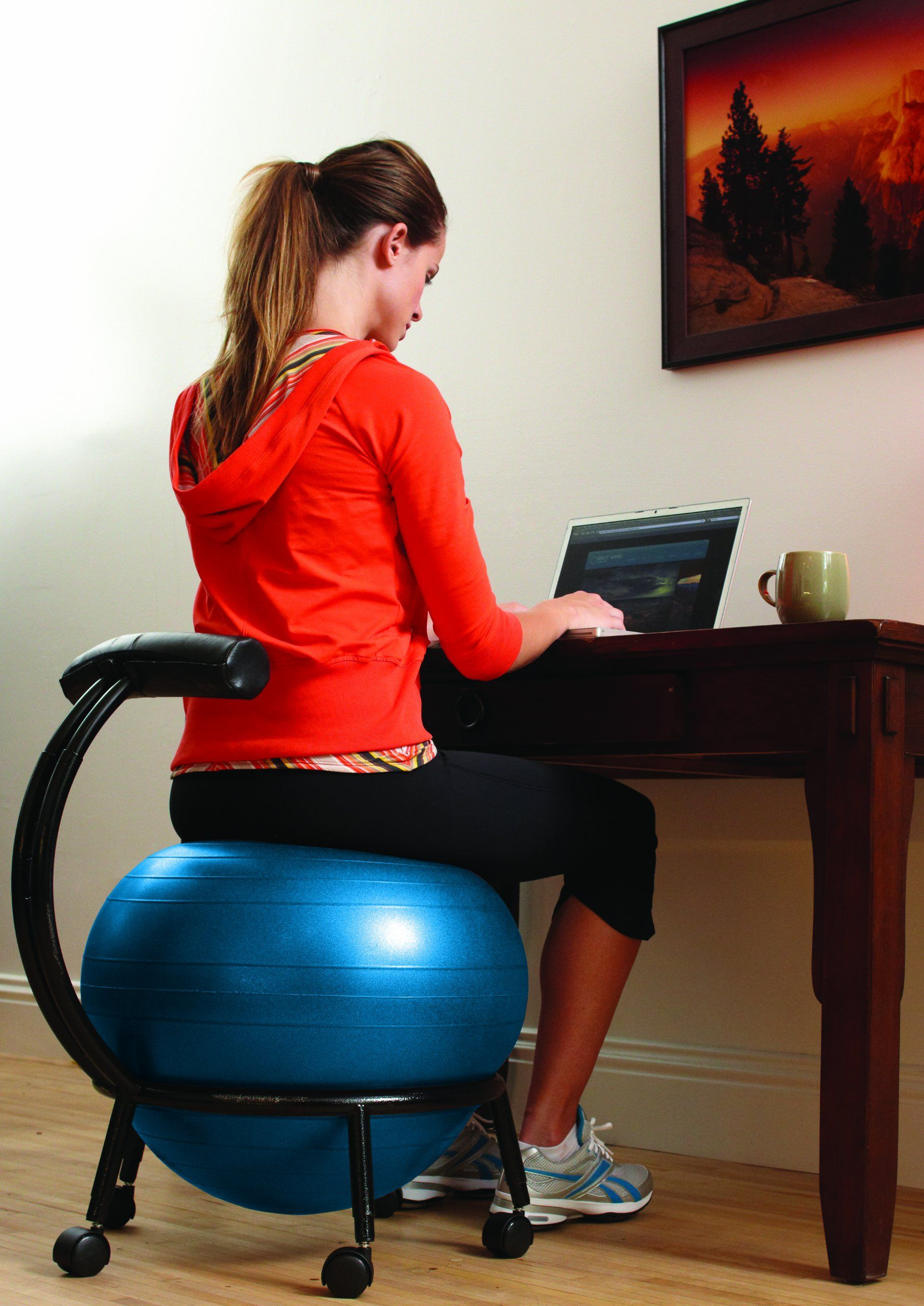 Amazon Com Gaiam Custom Fit Adjustable Balance Ball Chair Exercise Balls Sports Outdoors Balance Ball Chair Ball Chair Balance Ball