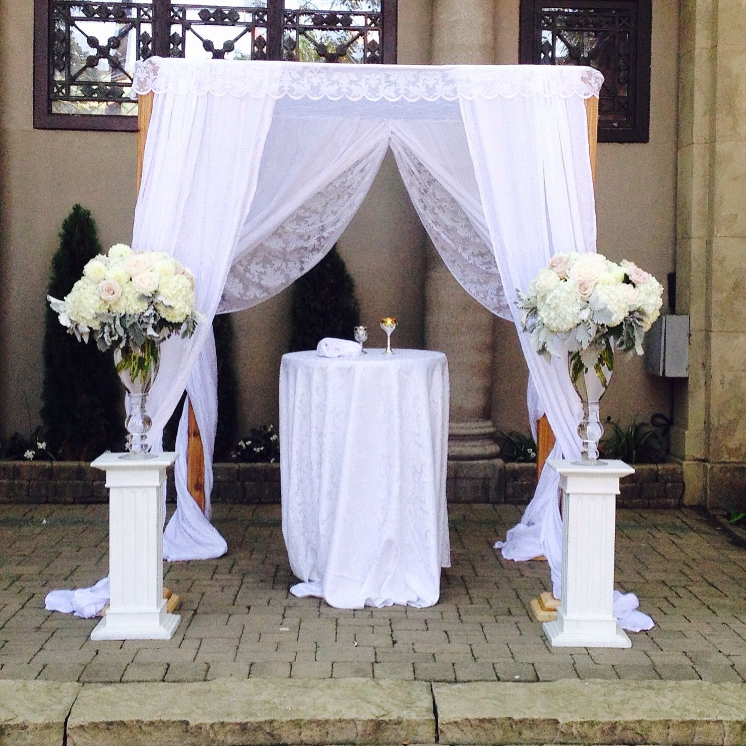 Cedar with lace and satin by chuppah.ca at The Liberty Grand Entertainment Complex