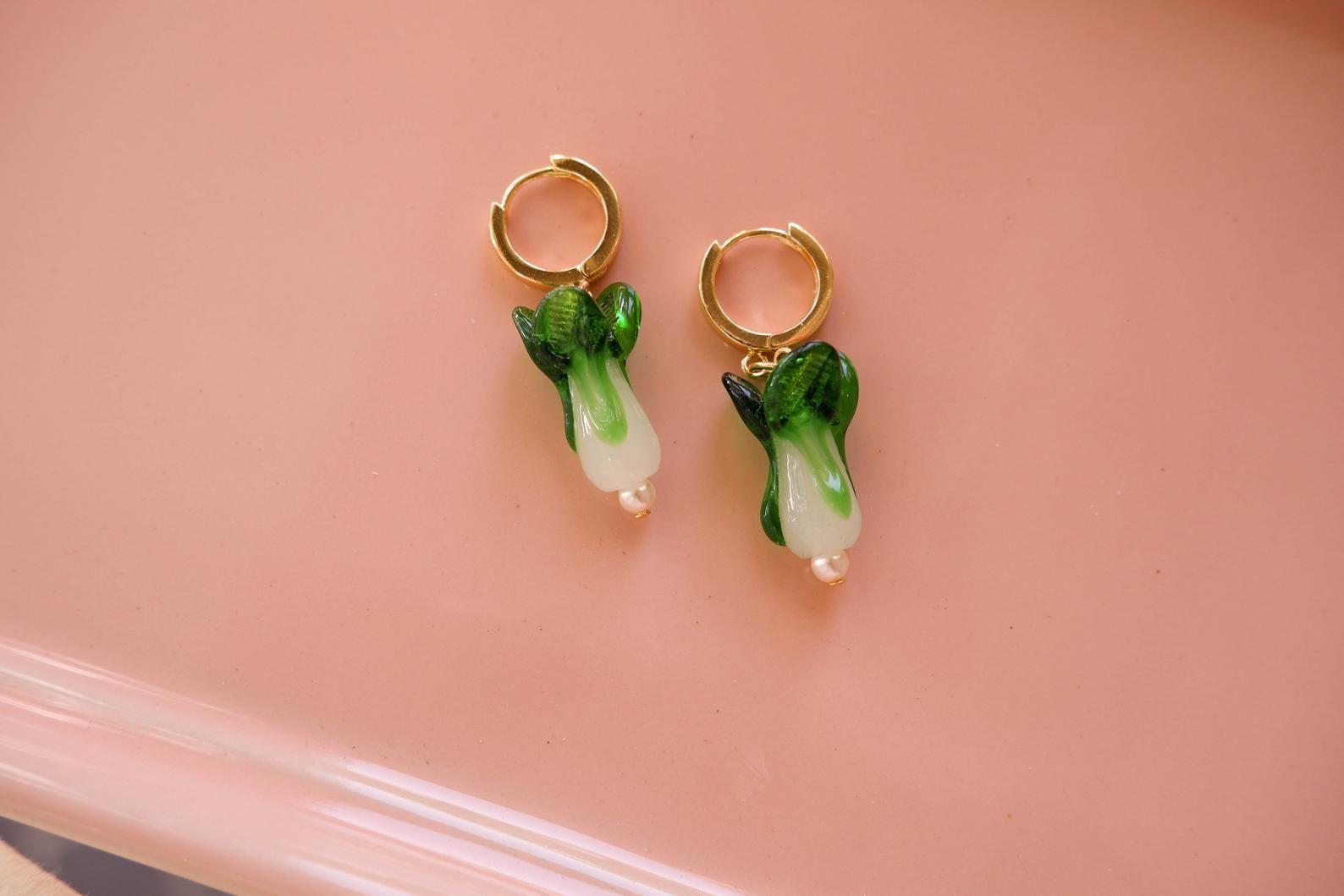 Baby Bok Choy Hoop Earrings | Bok Choy Huggie Hoops | Chinese Cabbage Accessory