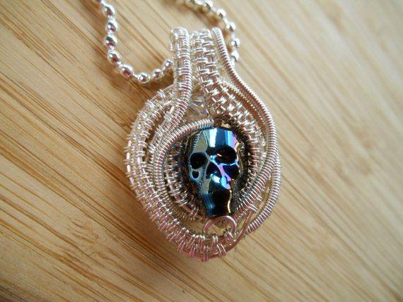 Metallic blue swarovski crystal skull pendant bead by ourfrontyard crystal skull pendant metallic blue swarovski bead silver wire pendant wire wrapped jewelry handmade boho goth medallion fantasy amulet mozeypictures Images