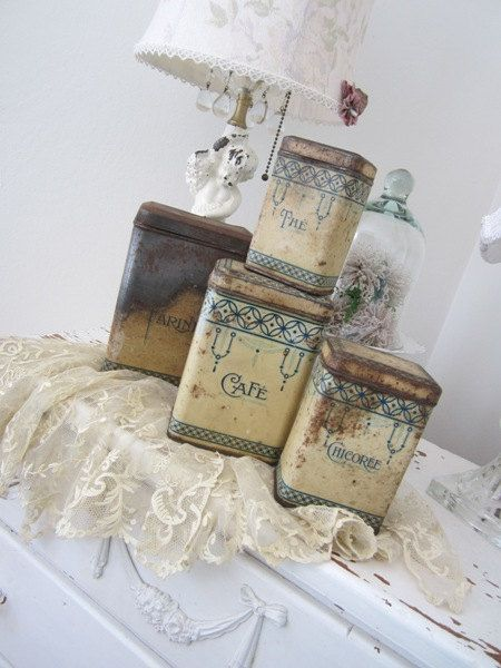 Antique French Kitchen Canisters - Shabby Rusty Patina - Vintage - PRICE REDUCED on Etsy, $45.00