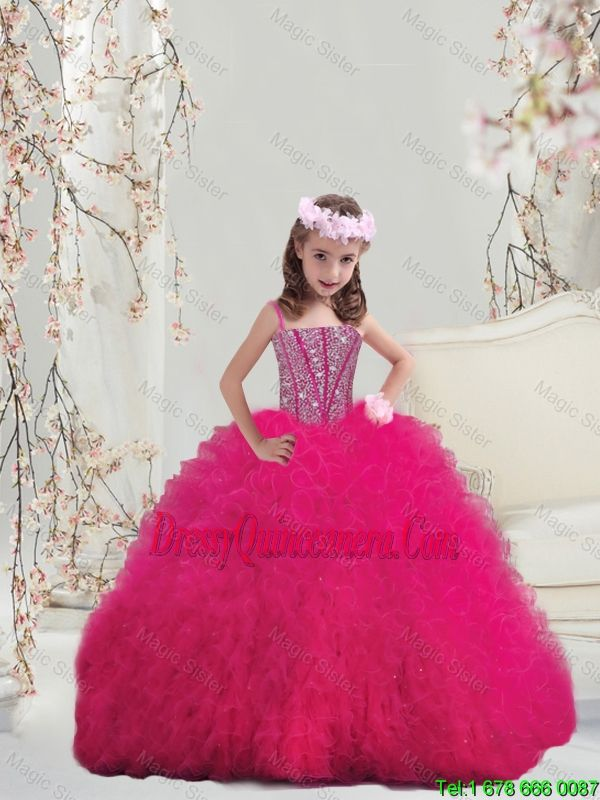 adbe71bb473 Lovely Spaghetti Hot Pink Mini Quinceanera Dresses with Beading and Ruffles