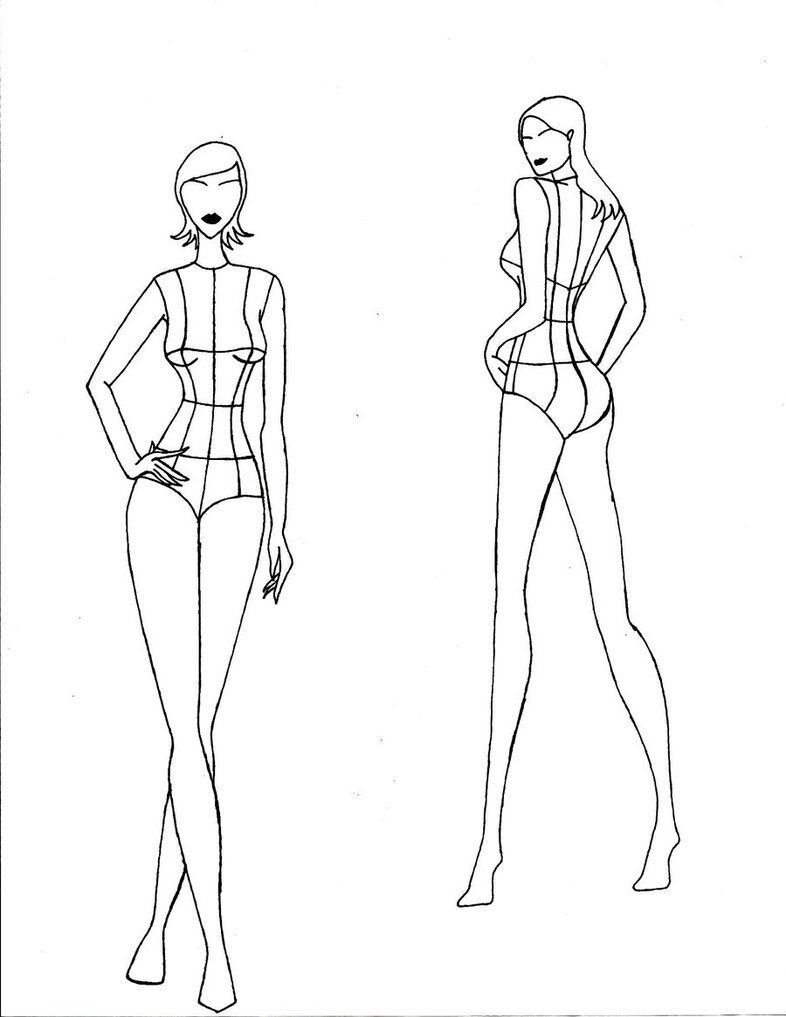 Realistic Female Croquis Front And Back Views By Chelinenino On Deviantart Fashion Illustration Template Fashion Design Template Fashion Sketch Template