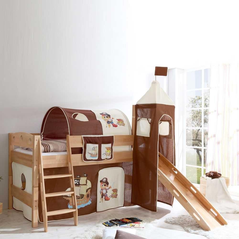 piraten hochbett mit rutsche braun wei jetzt bestellen unter. Black Bedroom Furniture Sets. Home Design Ideas
