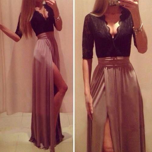 Vestido Abertura Pierna Vestidos De Moda Vestidos De Randa Vestidos De Fiesta