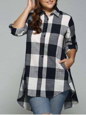 06d51142083 High Low Plus Size Long Plaid Boyfriend Shirt