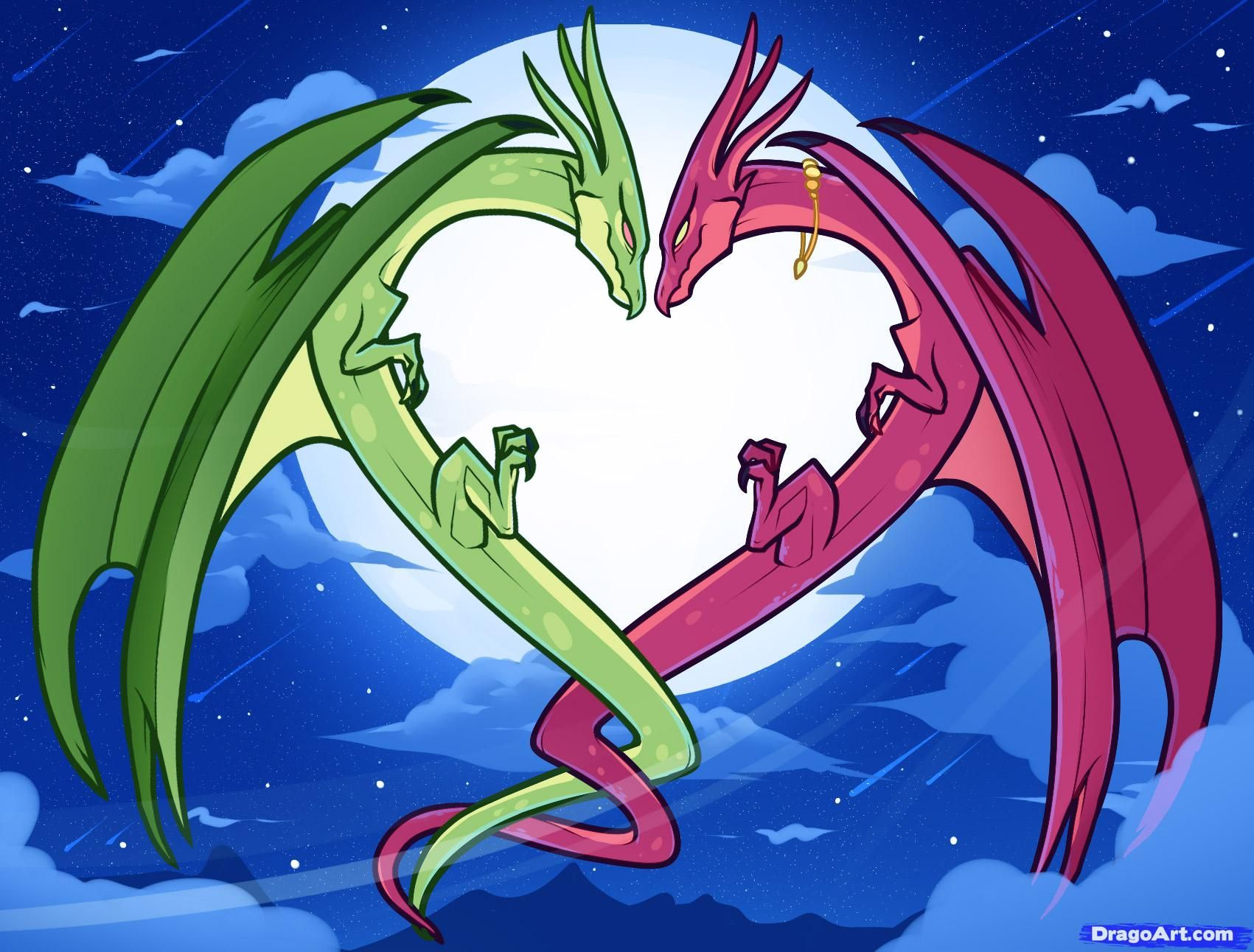 How To Draw Dragon Love, Dragon Love, Step By Step, Dragons, Draw