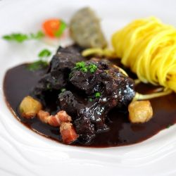 Boeuf bourguignon in the heart of Burgundy, France. Seriously beefy and impressively glossy.