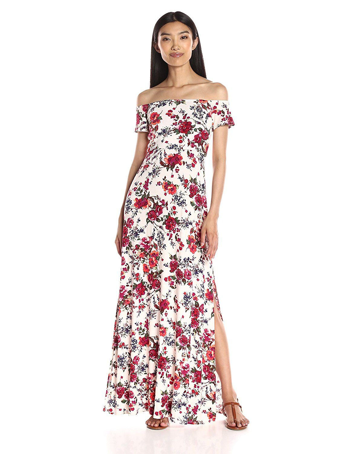 0c26df88f8c7 Loveappella Women's Floral Print Off Shoulder Maxi Dress >>> This is an  Amazon Affiliate link. See this great product.