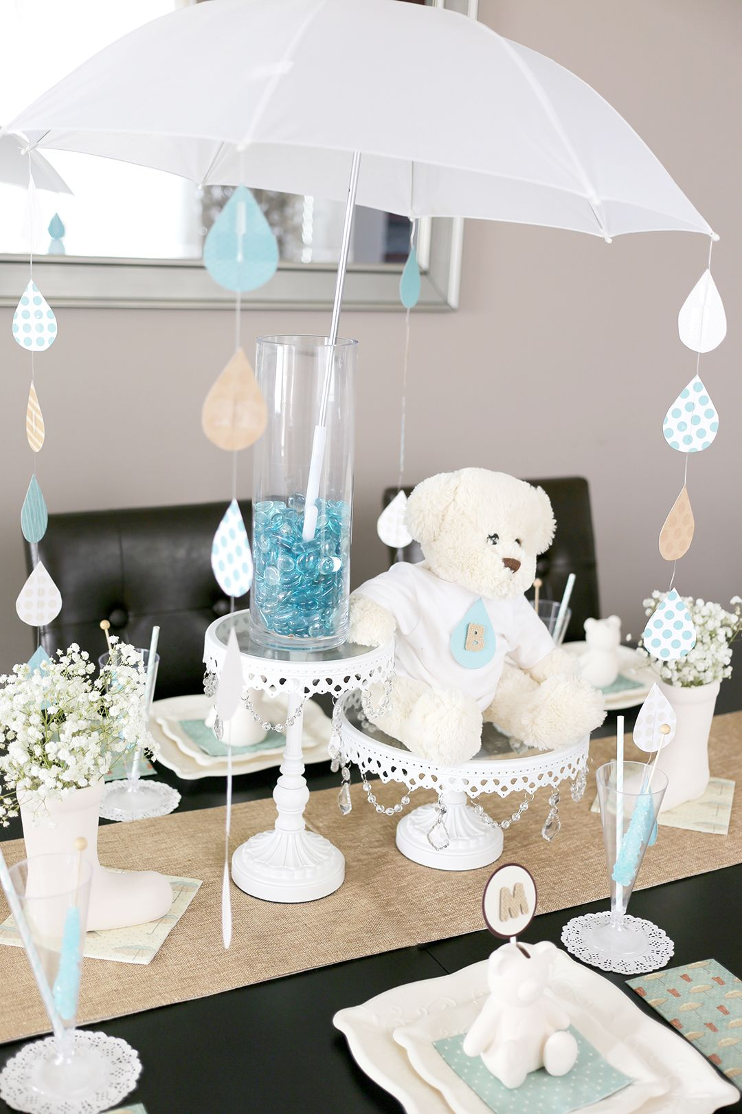 Let It Rain Baby Shower + DIY Umbrella Centerpiece! #SoireeEventDesign