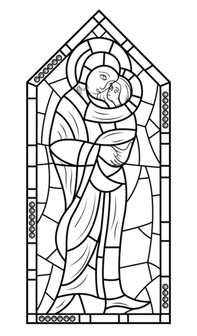 Mother Mary With Jesus Stained Glass Coloring Page Free Printable Coloring Pages Sea Glass Art Diy Coloring Pages Stained Glass Patterns