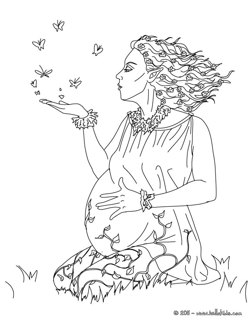 kleurplaat gaia the greek goddess of earth coloring page