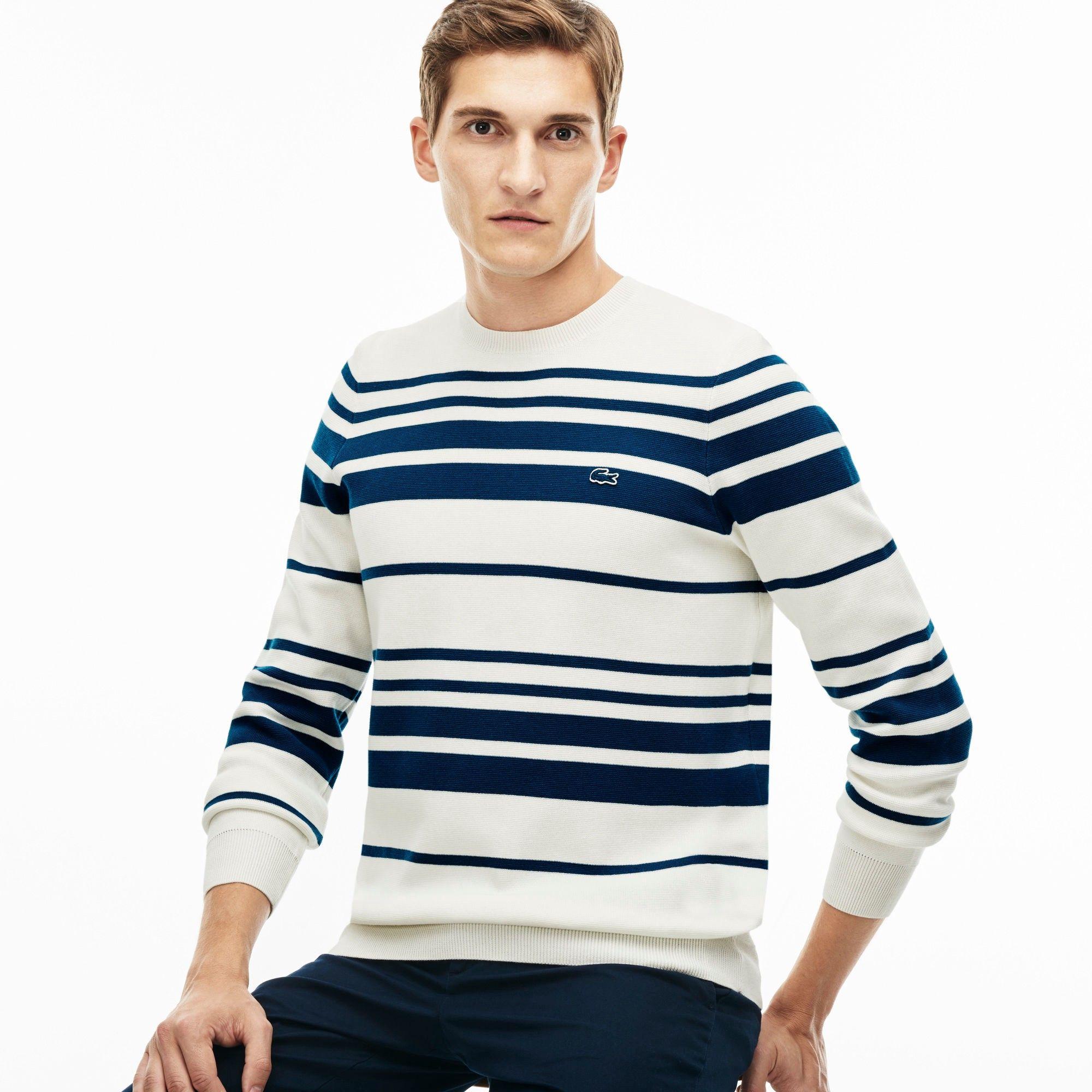 488b16321b LACOSTE Men's Crew Neck Striped Milano Cotton Sweater - flour/legion ...
