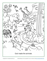 god made the animals coloring page  sunday school