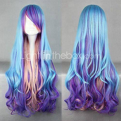 perruques de lolita punk bleu perruque lolita 32 pouce perruques de cosplay mosa u00efque perruque