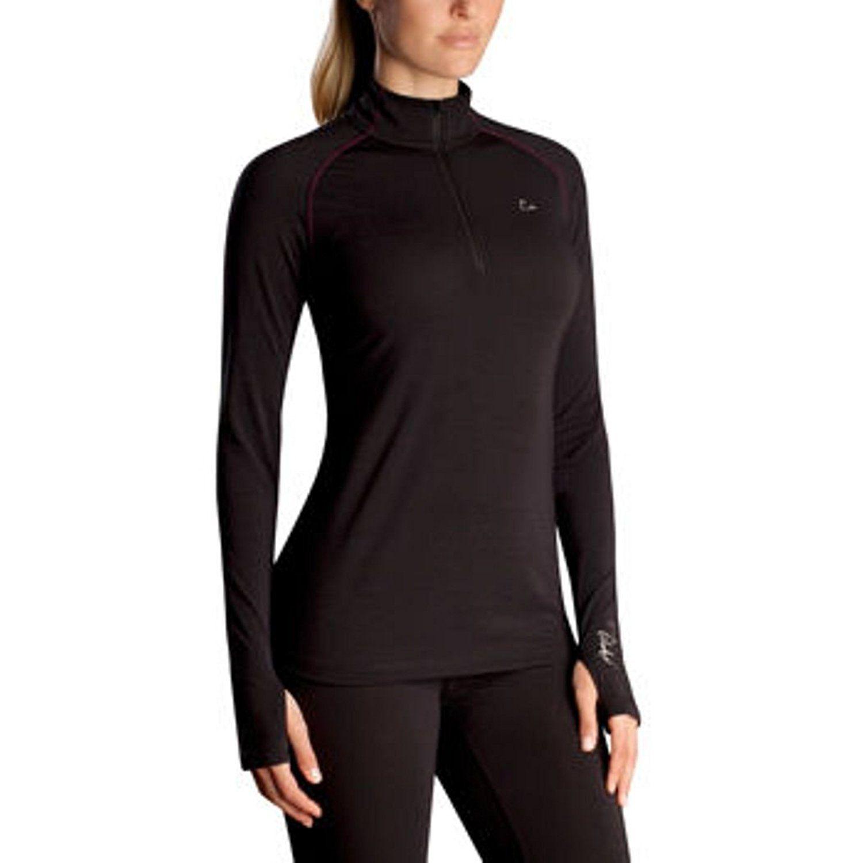 Kari Traa Womens Kink Base Layer Top Half Zip Merino Wool Blend Thermal Shirt