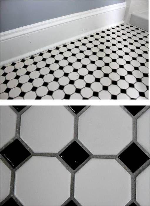 27 black and white octagon bathroom