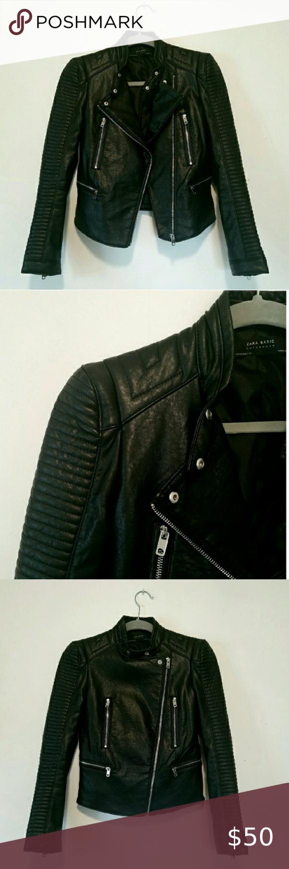 Zara Faux Leather Jacket Zara Leather Jacket Leather Jacket Flattering Jackets [ 1740 x 580 Pixel ]