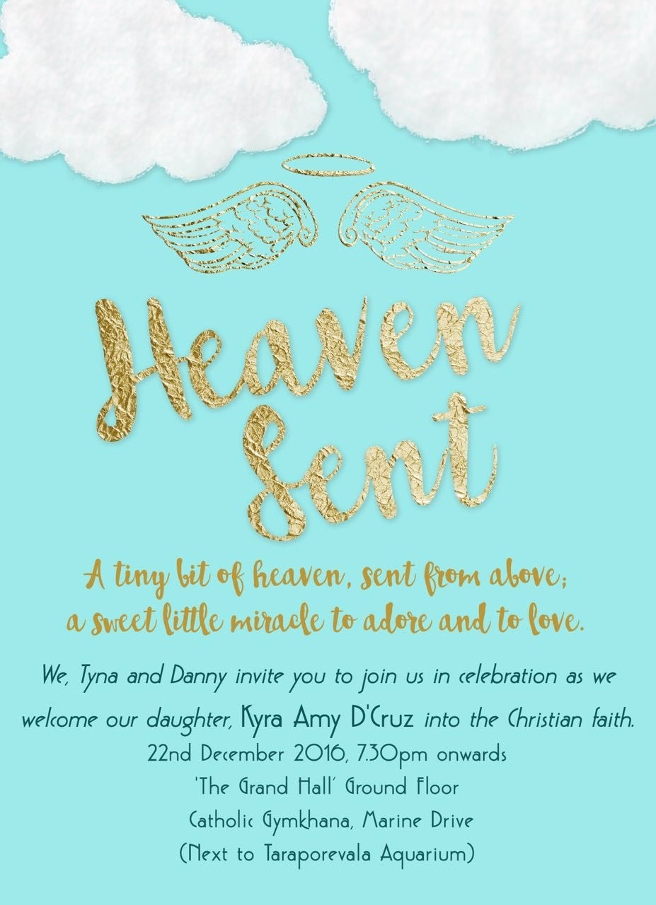 Heaven sent angel Baptism Christening invitation Heaven Sent