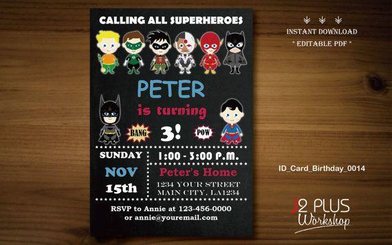 INSTANT DOWNLOAD Justice League Birthday Invitation Superhero Invitations Printable Party