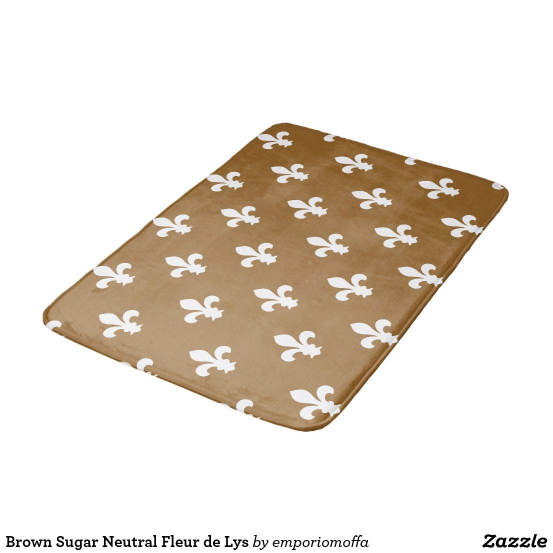 Brown Sugar Neutral Fleur De Lys Bathroom Mat Zazzle Com With