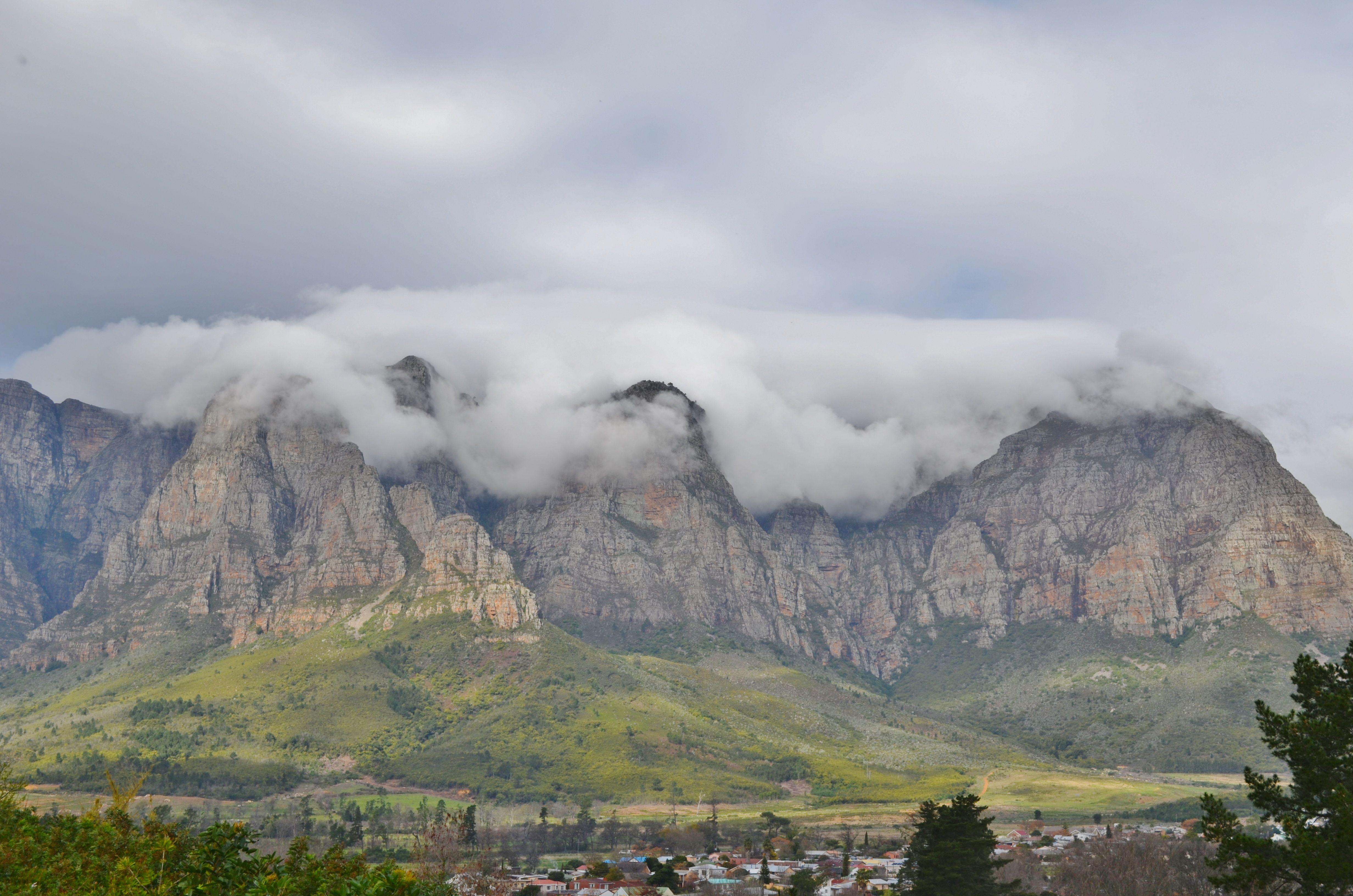 kylemore town below the mountain range of the banhoek conservancy