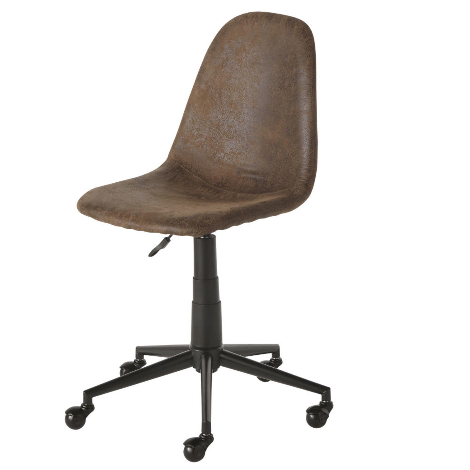 Chaise De Bureau Reglable A Roulettes En Suedine Marron Bureau
