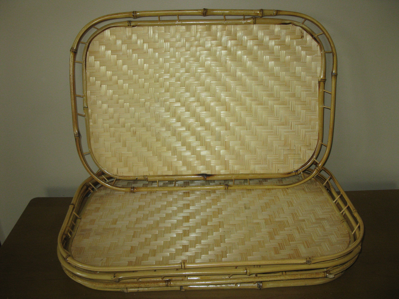 Set Of 4 Bamboo Trays Wicker Bed Breakfast Lap Trays Etsy Dinner Tray Lap Tray Wicker