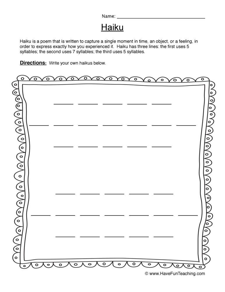 Haiku Blank Worksheet Writing worksheets, Haiku, Writing