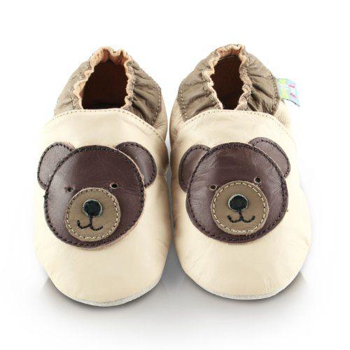 Snuggle Feet – Suaves Zapatos De Cuero Del Bebé oso de peluche (12-18 meses)