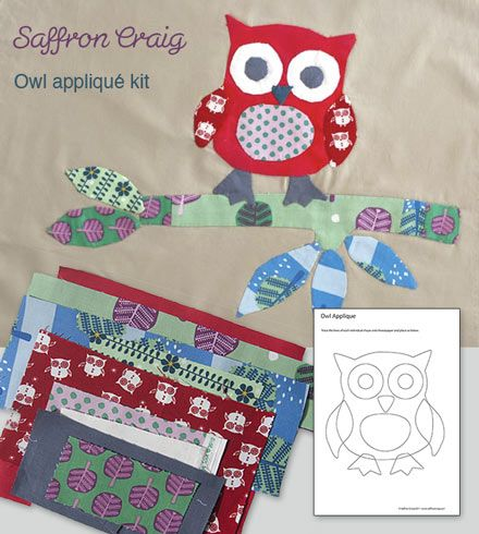 no sew applique patterns free | Owl Applique Kit | The Fabric Shopper