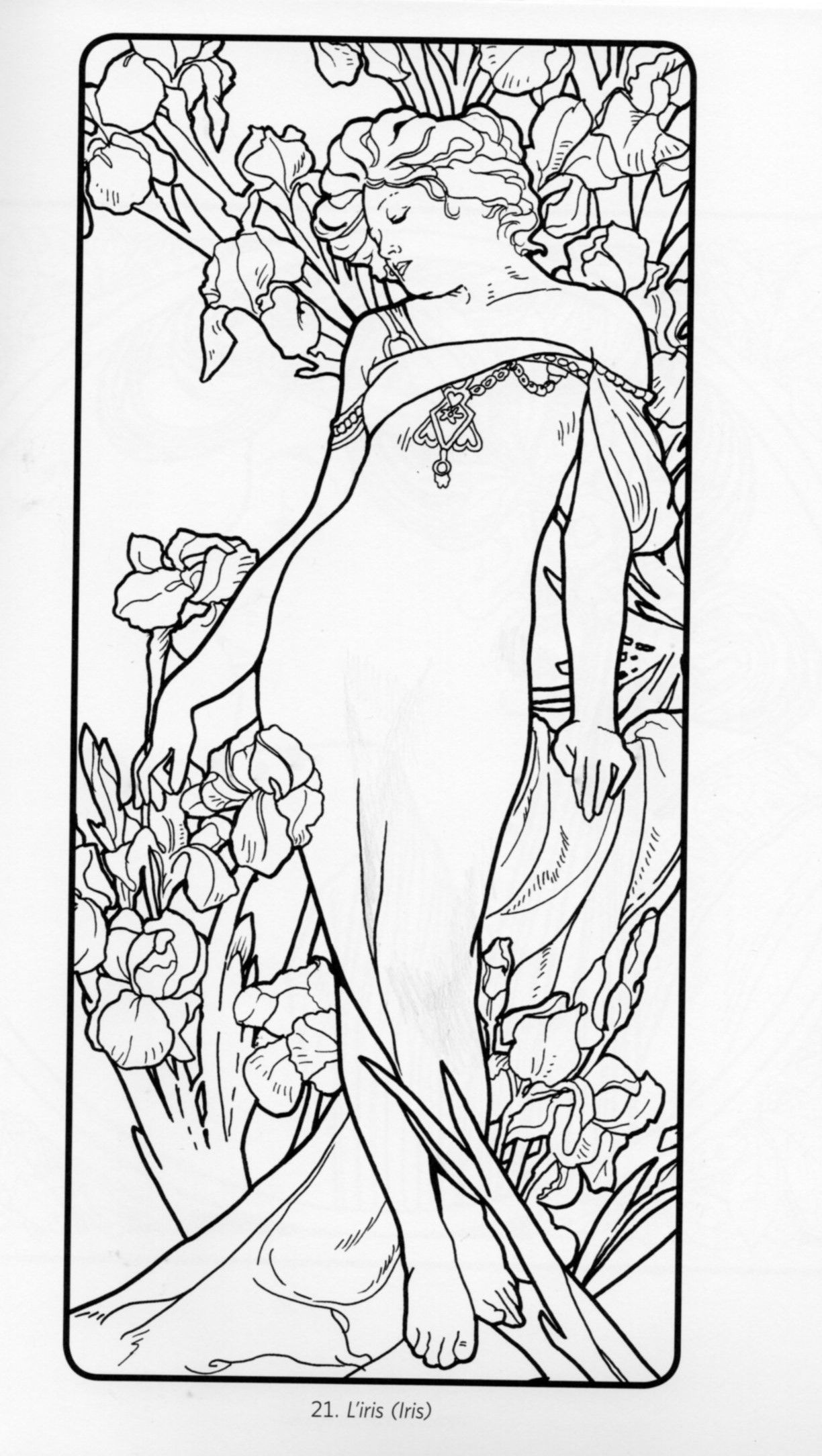 alphonse mucha coloring pages 1000 images about imagens para colorir on pinterest