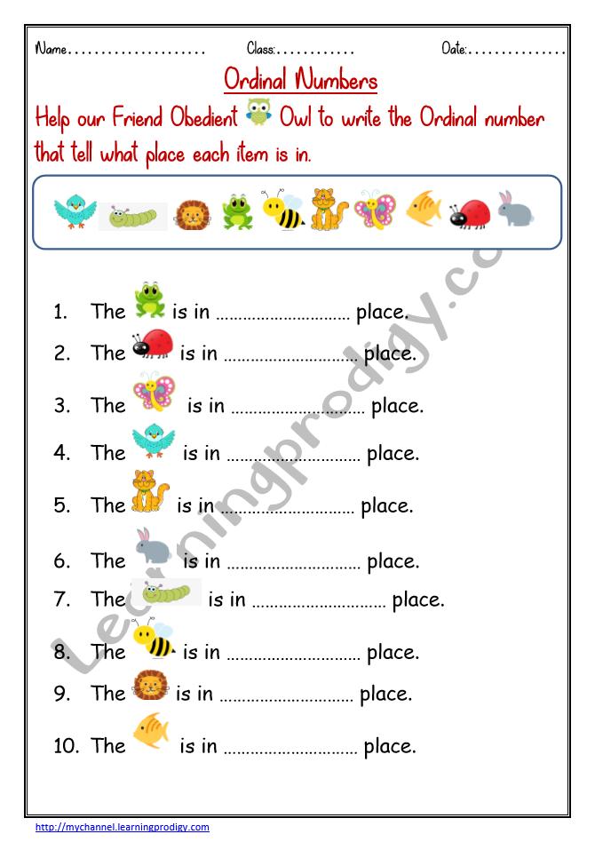 Ordinal Numbers Worksheet For Kindergarten Kids Free Printable Ordinal Numbers Worksheet Ordinal Numbers Math 1st Grade Math