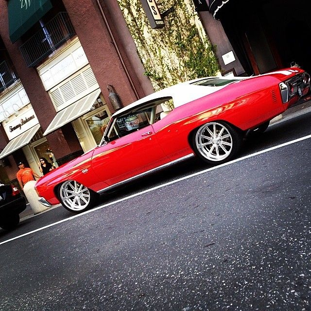 The Rooster 72 Chevelle Red With A White Vinyl Top Billet Wheels Multi Spoke Classic Cars Classic Cars Muscle Muscle Cars