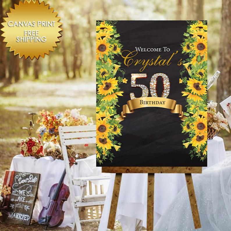 Welcome Birthday party signs Birthday Welcome Sign Birthday sign 50th Birthday Party decorations Floral Birthday decorations