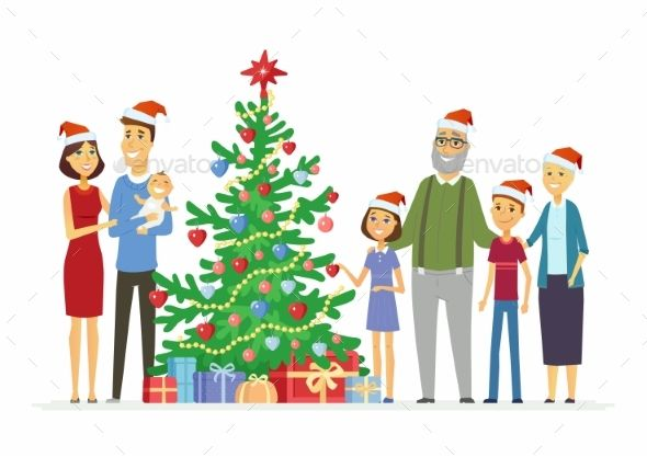 Mother Christmas Cartoon.Happy Family Celebrates Christmas C Cartoon People