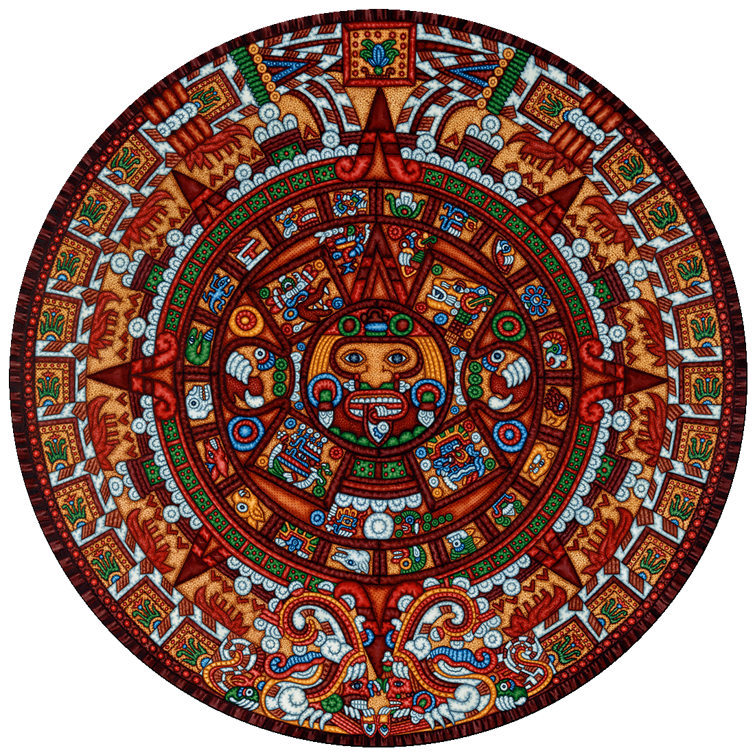 Pin By Aaron Wester On Eric Dowdle Folk Art Collection Aztec Calendar Aztec Art Puzzle Art