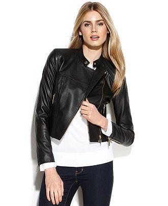 95342aaf12cc MICHAEL Michael Kors Cropped Leather Moto Jacket - Coats - Women - Macy s   277.49