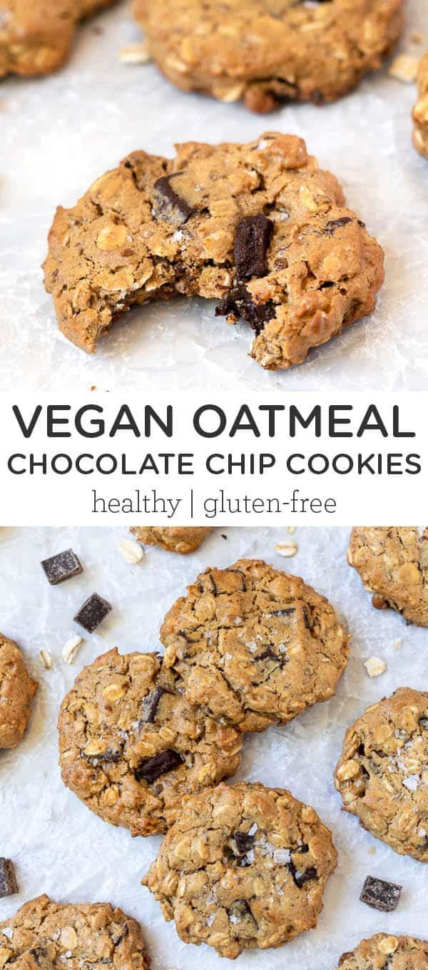 The Best Vegan Oatmeal Chocolate Chip Cookies Gf Recipe In 2020 Oatmeal Chocolate Chip Cookies Vegan Oatmeal Chocolate Chip Cookies Chocolate Chip Oatmeal