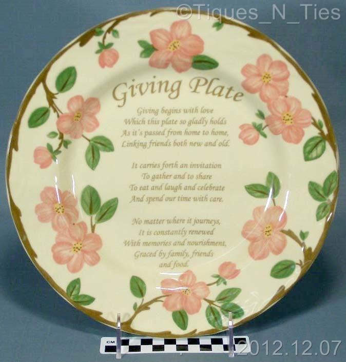Franciscan Desert Rose Limited Edition Giving Plate Poem Dinner Plate - China & Franciscan Desert Rose Limited Edition Giving Plate Poem Dinner ...