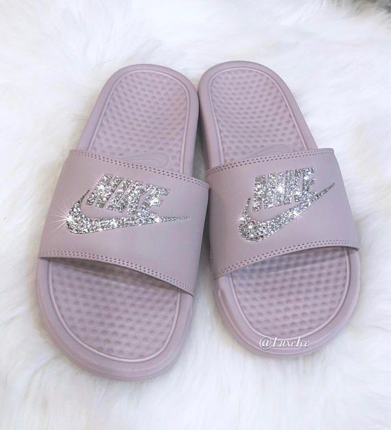 Nike Benassi JDI Slides Flip Flops - Particle Rose Metallic Silver  customized with Swarovski Crystals.  151c65aef293