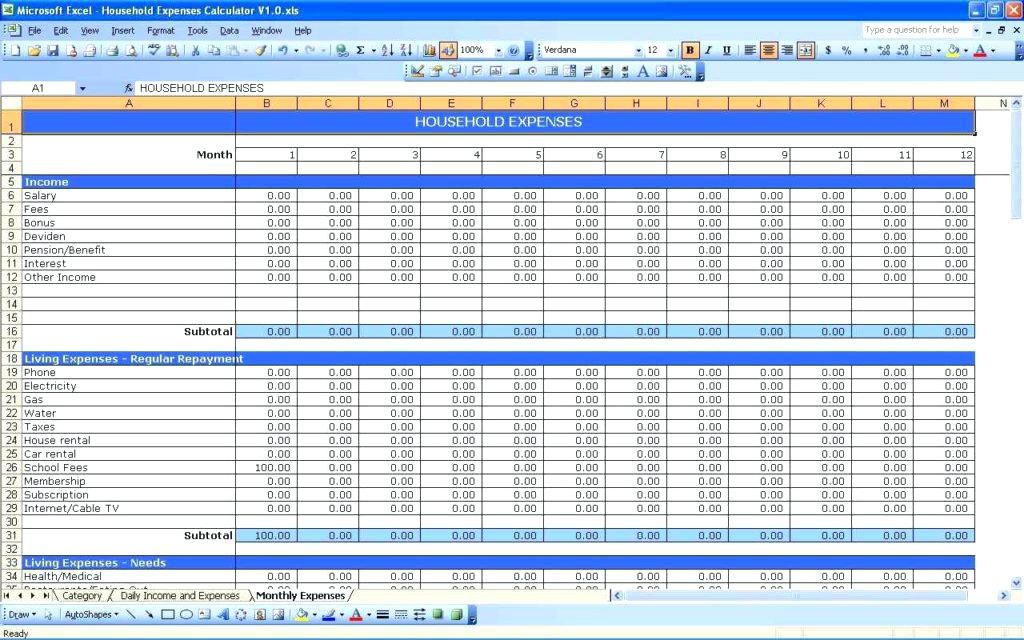 monthly budget spreadsheet templates google easy excel for